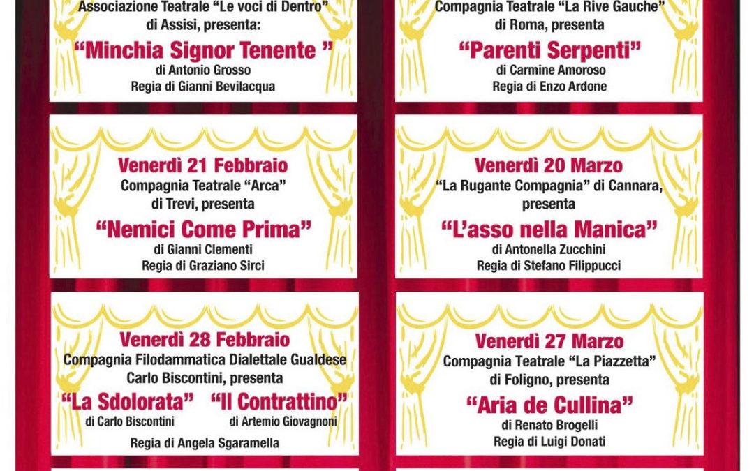 10° Festival di Teatro Brillante si inizia  il 14 febbraio 2020 alle ore 21,15 presso il salone del dopolavoro ferroviario di Foligno
